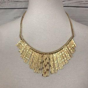New York & Company Gold Fringe Necklace